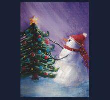 Cute Snowman Decorates Xmas Tree Folk Art Painting . Kids Tee
