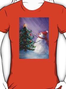 Cute Snowman Decorates Xmas Tree Folk Art Painting . T-Shirt