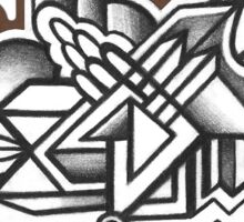 Abstract Dimensions (Black and White) Design 037 Sticker