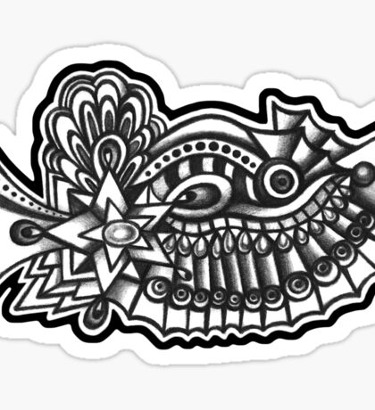 Abstract Dimensions (Black and White) Design 039 Sticker