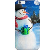 Cute Happy Snowman Holding Gift ACEO Folk Painting iPhone Case/Skin