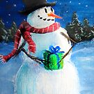 Cute Happy Snowman Holding Gift ACEO Folk Painting by Leah McNeir