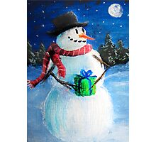 Cute Happy Snowman Holding Gift ACEO Folk Painting Photographic Print