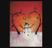 Cute Happy Snowman at Sunset - ACEO Folk Painting Kids Tee