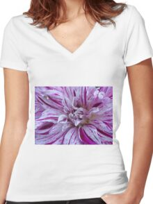Peppermint Dahlia  Women's Fitted V-Neck T-Shirt