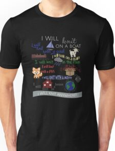 "Knitting Products ""I Will Knit with a Goat..."" Unisex T-Shirt"
