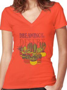 Dreaming of the desert Women's Fitted V-Neck T-Shirt