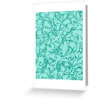 The Teal Flute : Blue Turquoise Floral Flower Design Greeting Card