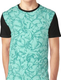 The Teal Flute : Blue Turquoise Floral Flower Design Graphic T-Shirt