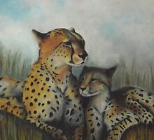 CHEETAH AND HER BABY by Lena's Creations