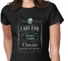 BOTTLE LABEL - lady evil Womens Fitted T-Shirt