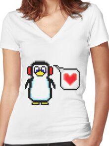 Valentine Penguin Women's Fitted V-Neck T-Shirt