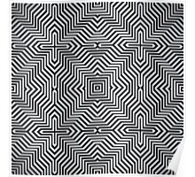 Minimal Geometrical Optical Illusion Style Pattern in Black & White  Poster