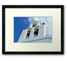 Three church bells from Santorini, Greece Framed Print