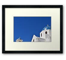 White church with blue dome in Santorini, Greece Framed Print