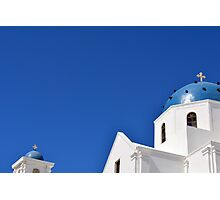 White church with blue dome in Santorini, Greece Photographic Print