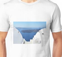 White cylindrical roofs in Santorini, Greece Unisex T-Shirt