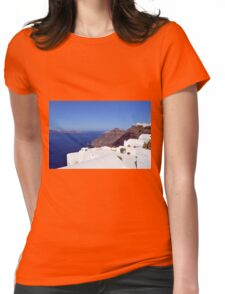 White houses in Santorini, Greece and the blue Aegean Sea. Womens Fitted T-Shirt