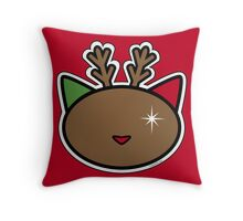 Meow reindeer Throw Pillow