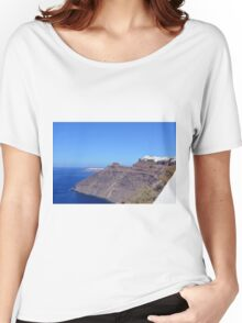 White houses in Santorini, Greece and the blue Aegean Sea. Women's Relaxed Fit T-Shirt