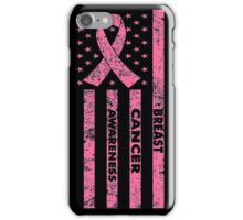 Breast Cancer Awareness USA Flag T-Shirts iPhone Case/Skin