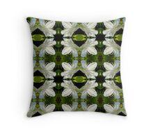 white Azalea pattern Throw Pillow