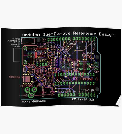 Arduino Duemilanove Reference Design - black Poster