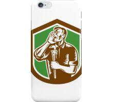 Plumber Shouting Holding Wrench Woodcut iPhone Case/Skin