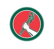 Hand Holding Adjustable Wrench Circle Woodcut by patrimonio