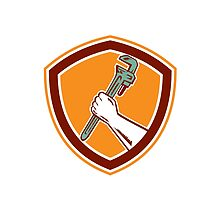 Hand Holding Adjustable Wrench Shield Woodcut by patrimonio