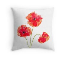 Water Color Poppies Throw Pillow