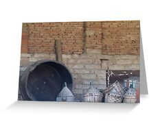 old wine barrel Greeting Card
