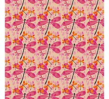 seamless pattern with dragonflies and rain drops Photographic Print