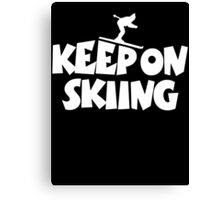 Keep On Skiing 1 White Canvas Print