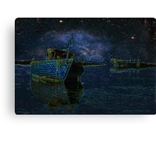 Boats Under Starry Night - Kuwait Canvas Print