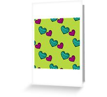 pattern with colorful striped hearts Greeting Card