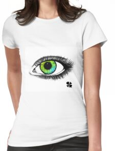 Green & blue eye Womens Fitted T-Shirt
