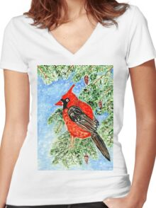 Christmas Red Cardinal 2 Women's Fitted V-Neck T-Shirt