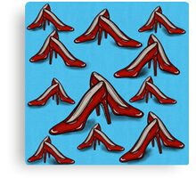 Red Ruby Heels on Sky Blue Linen Canvas Print