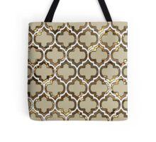 Gold Lattice Effect Decorative Design Tote Bag