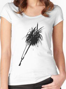 Elegant minimalist palm design in Chinese ink Women's Fitted Scoop T-Shirt