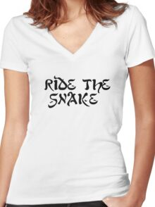 ride the snake the doors song lyrics jim morrison the end rock n roll psychedelic font light my fire hippie t shirts Women's Fitted V-Neck T-Shirt
