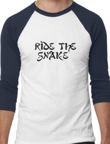 ride the snake the doors song lyrics jim morrison the end rock n roll psychedelic font light my fire hippie t shirts Men's Baseball ¾ T-Shirt