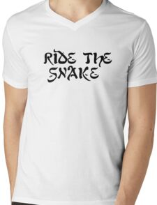 ride the snake the doors song lyrics jim morrison the end rock n roll psychedelic font light my fire hippie t shirts Mens V-Neck T-Shirt