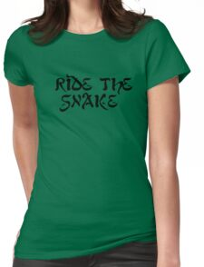 ride the snake the doors song lyrics jim morrison the end rock n roll psychedelic font light my fire hippie t shirts Womens Fitted T-Shirt