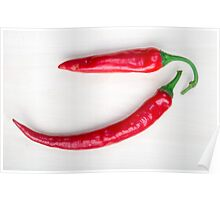 Two red hot chili pepper closeup  Poster