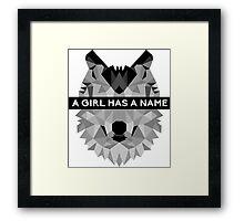 A Girl Has A Name Arya Stark - Black Framed Print