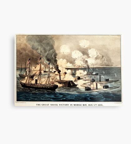 Great naval victory in Mobile Bay, Aug. 5th 1864 - 1864 Metal Print