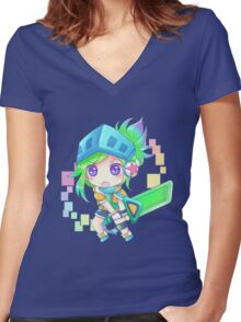 Arcade Chibi Riven Women's Fitted V-Neck T-Shirt