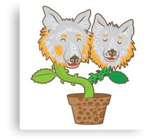 potted Collie Flower dogs Canvas Print